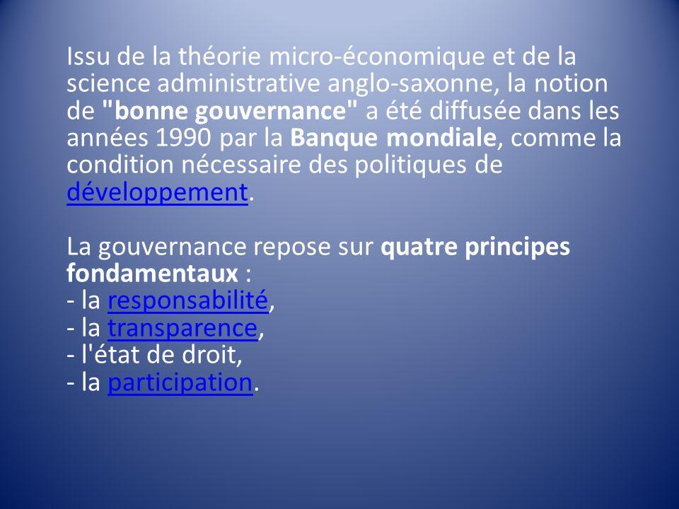 Issu de la théorie micro-économique et de la science administrative anglo-saxonne, la notion de bonne gouvernance a été diffusée dans les années 1990 par la Banque mondiale, comme la condition nécessaire des politiques de développement.