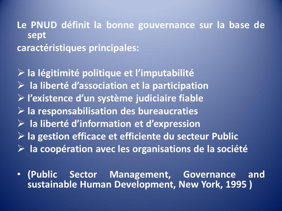 Le PNUD définit la bonne gouvernance sur la base de sept