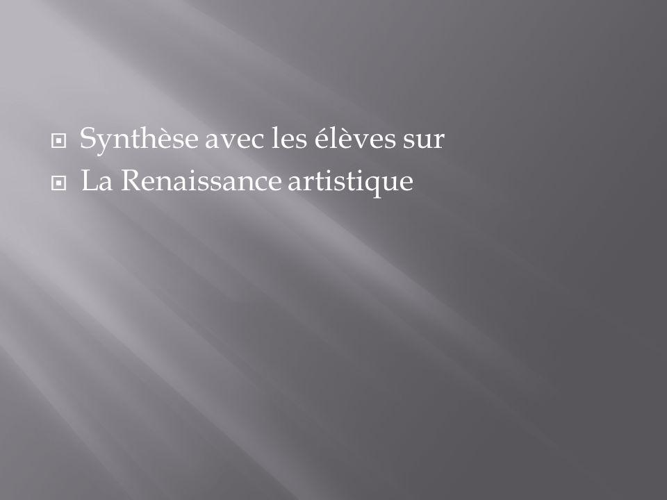 Synthèse avec les élèves sur La Renaissance artistique