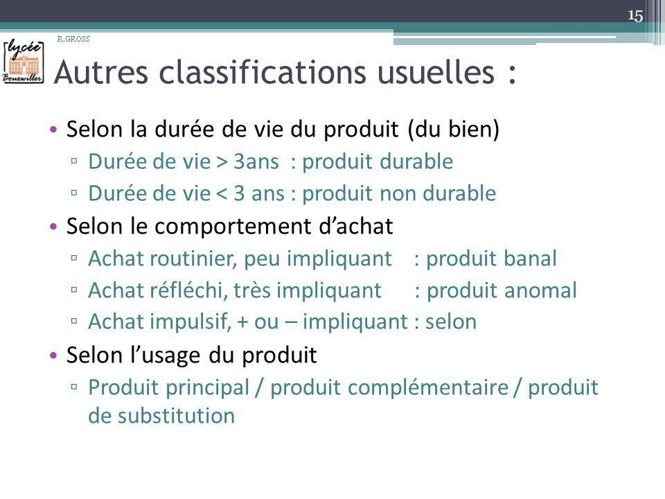 Autres classifications usuelles :