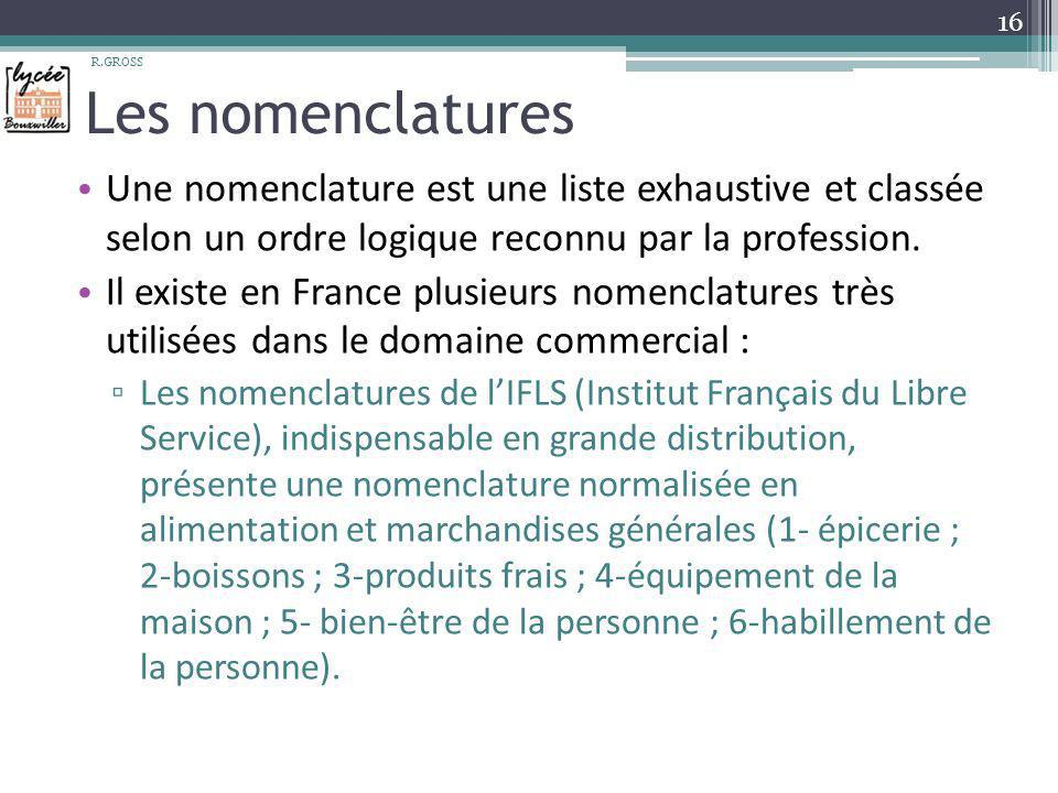 R.GROSS Les nomenclatures. Une nomenclature est une liste exhaustive et classée selon un ordre logique reconnu par la profession.