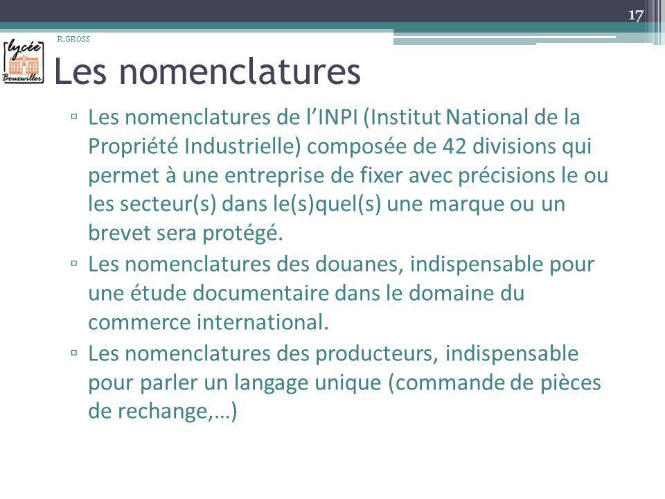 R.GROSS Les nomenclatures.