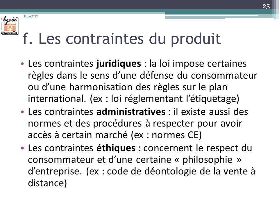 f. Les contraintes du produit