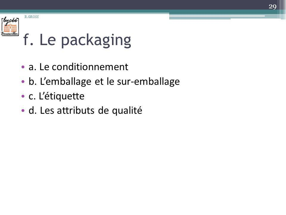 f. Le packaging a. Le conditionnement
