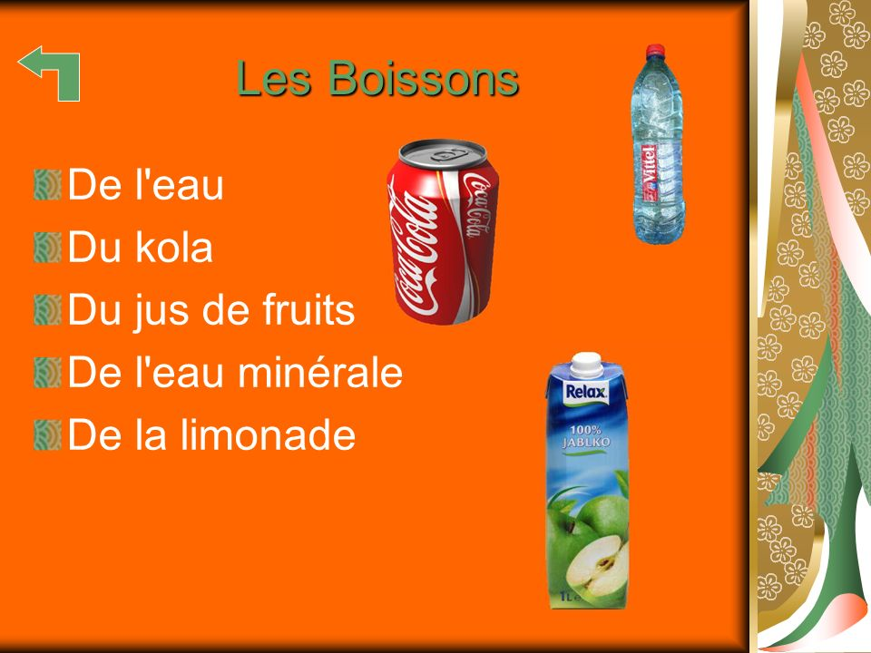 Les Boissons De l eau Du kola Du jus de fruits De l eau minérale