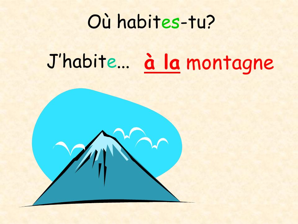 Où habites-tu J'habite... à la montagne