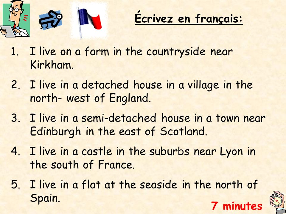 Écrivez en français: I live on a farm in the countryside near Kirkham. I live in a detached house in a village in the north- west of England.