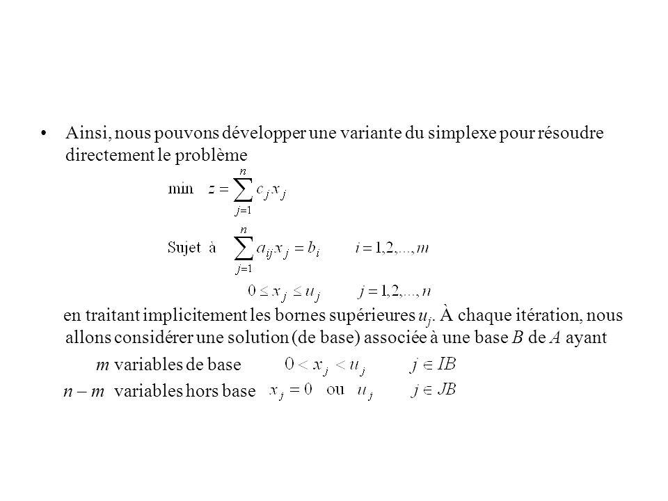 Ainsi, nous pouvons développer une variante du simplexe pour résoudre directement le problème