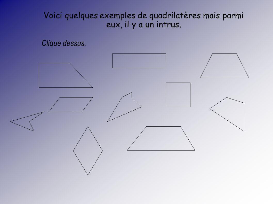Voici quelques exemples de quadrilatères mais parmi eux, il y a un intrus.