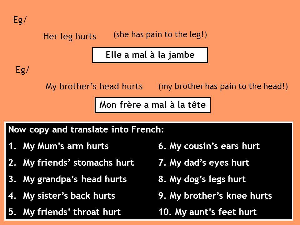 Elle a mal à la jambe Mon frère a mal à la tête