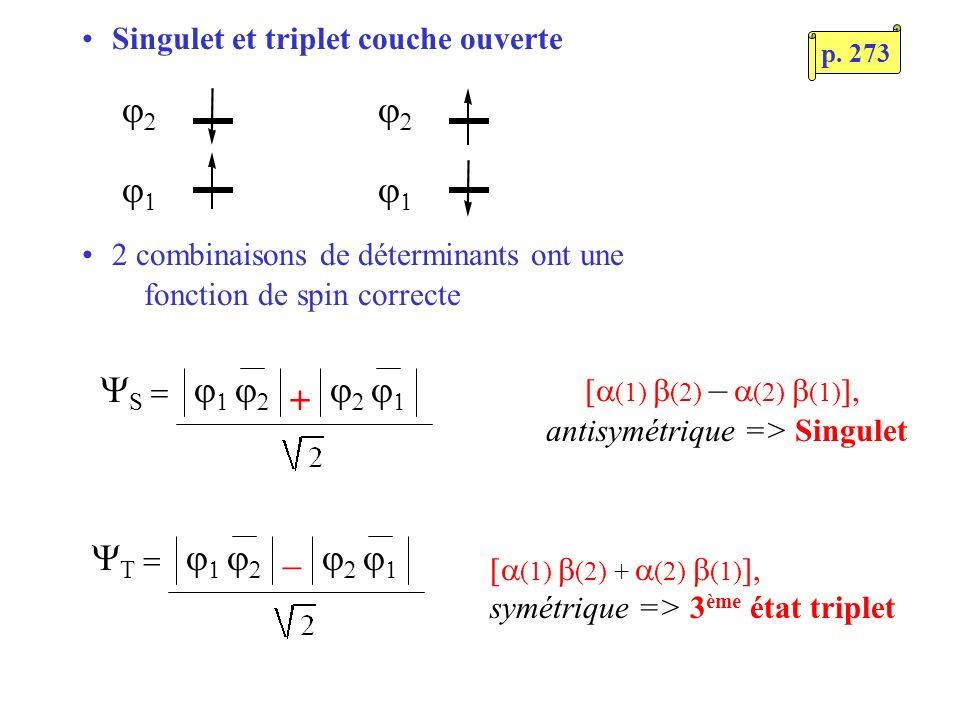 antisymétrique => Singulet