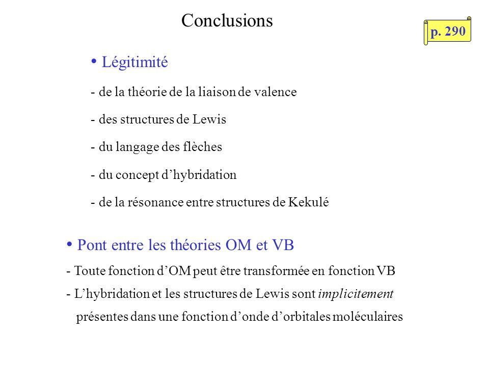 Pont entre les théories OM et VB