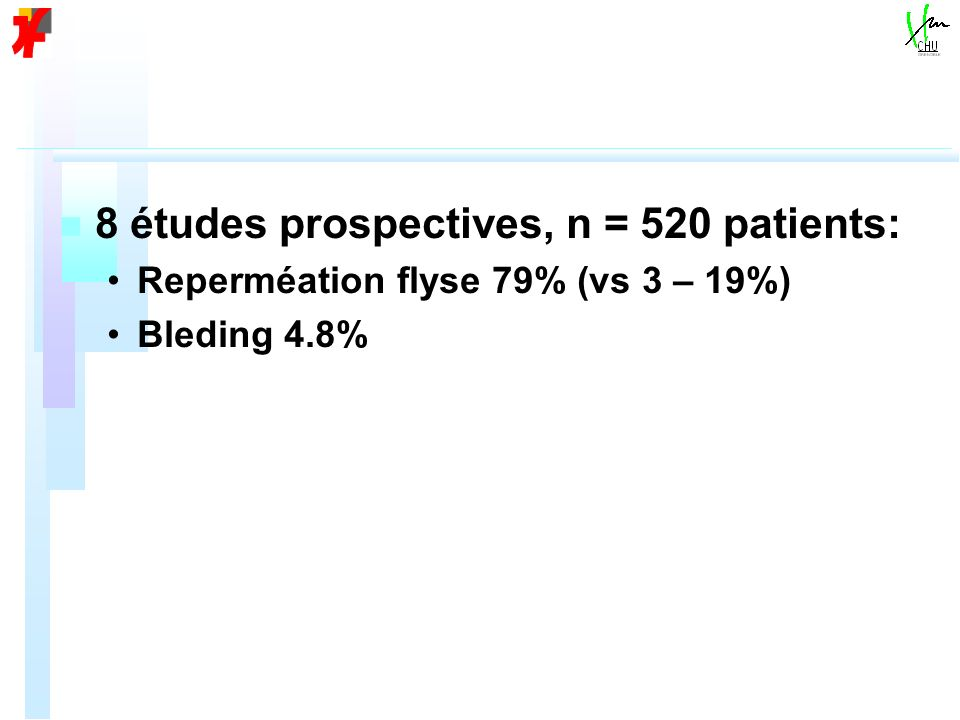 8 études prospectives, n = 520 patients: