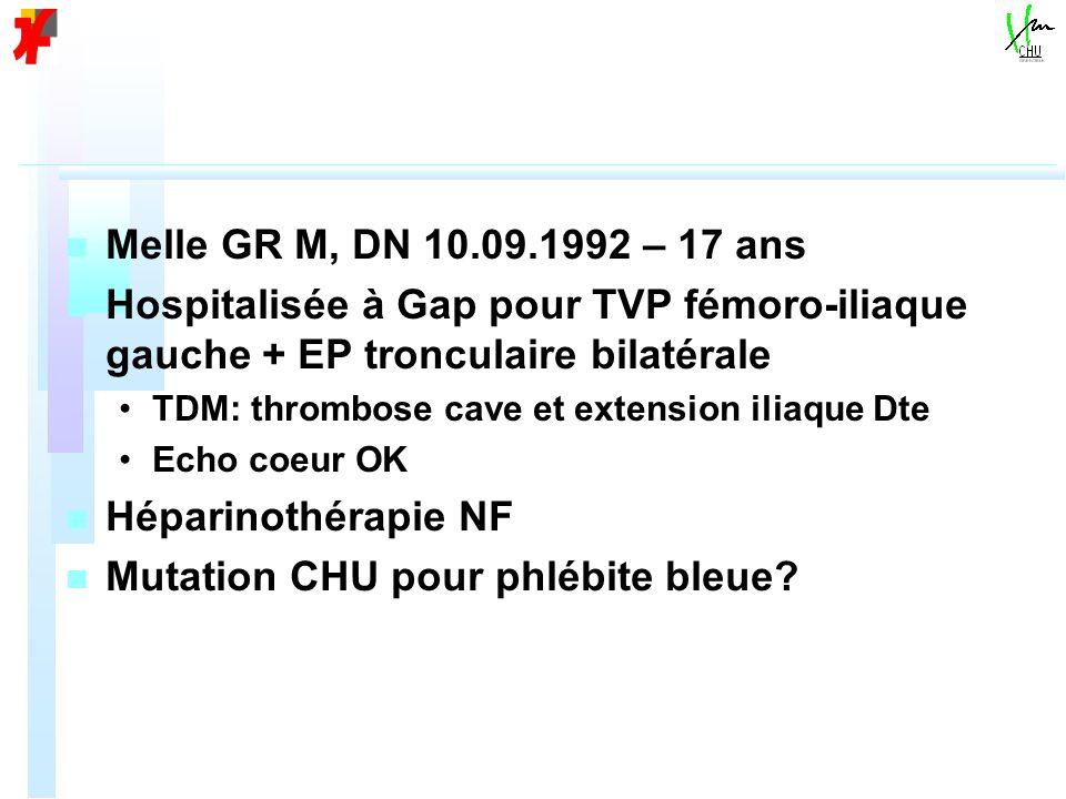 Mutation CHU pour phlébite bleue