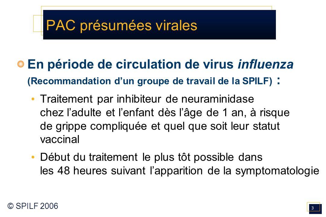 PAC présumées virales En période de circulation de virus influenza (Recommandation d'un groupe de travail de la SPILF) :