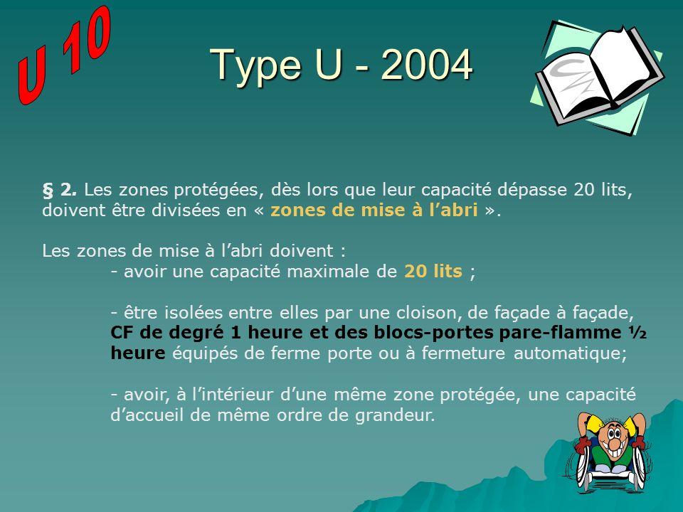 U 10 Type U - 2004. § 2. Les zones protégées, dès lors que leur capacité dépasse 20 lits, doivent être divisées en « zones de mise à l'abri ».