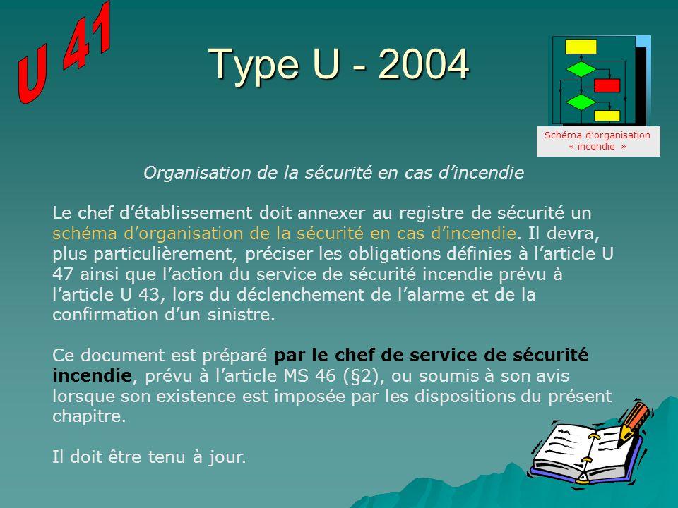 Type U - 2004 U 41 Organisation de la sécurité en cas d'incendie