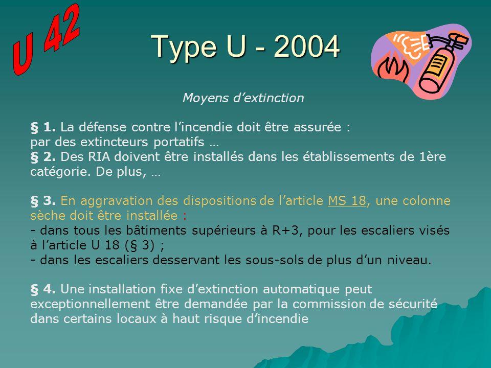 Type U - 2004 U 42 Moyens d'extinction