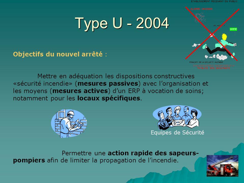Type U - 2004 Objectifs du nouvel arrêté :