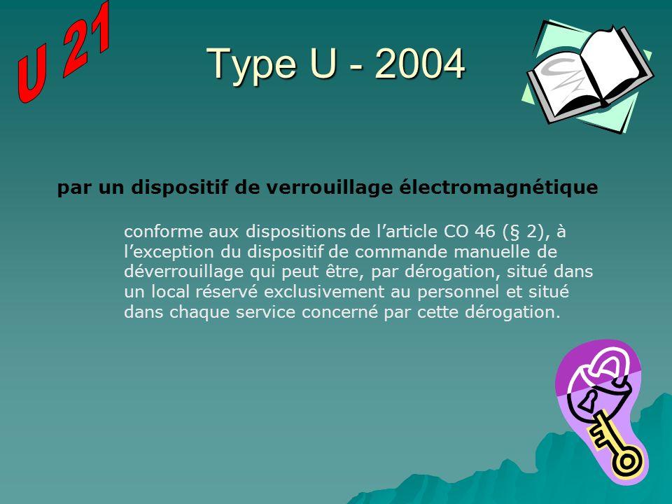 Type U - 2004 U 21 par un dispositif de verrouillage électromagnétique