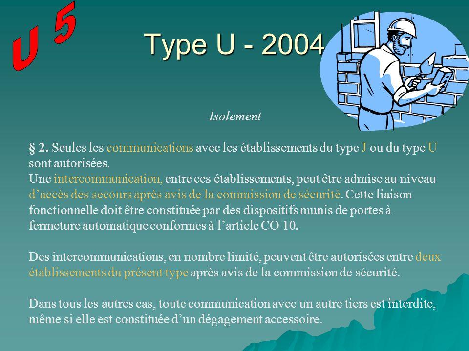 U 5 Type U - 2004. Isolement. § 2. Seules les communications avec les établissements du type J ou du type U sont autorisées.