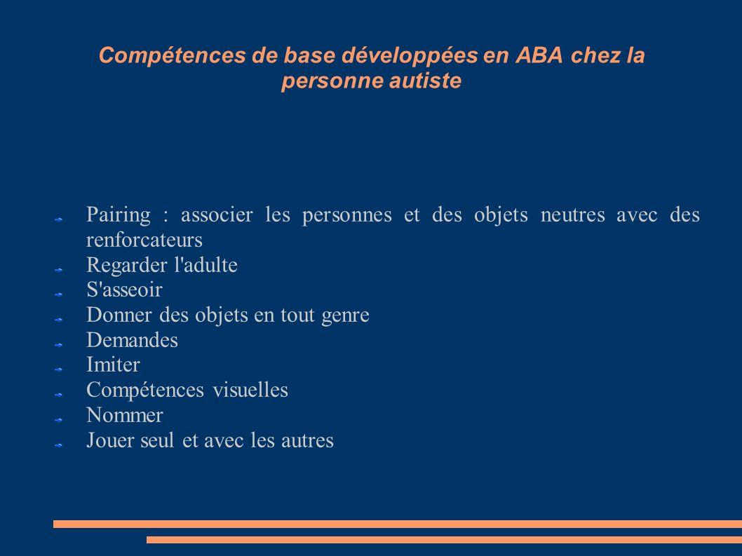 Compétences de base développées en ABA chez la personne autiste