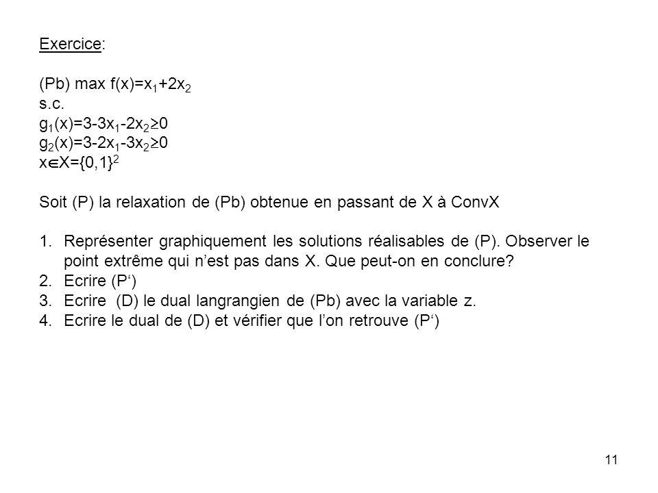 Exercice: (Pb) max f(x)=x1+2x2. s.c. g1(x)=3-3x1-2x20. g2(x)=3-2x1-3x20. xX={0,1}2.