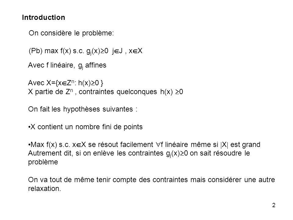 Introduction On considère le problème: (Pb) max f(x) s.c. gj(x)0 jJ , xX. Avec f linéaire, gj affines.