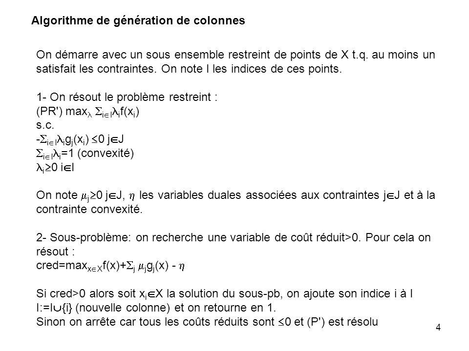 Algorithme de génération de colonnes