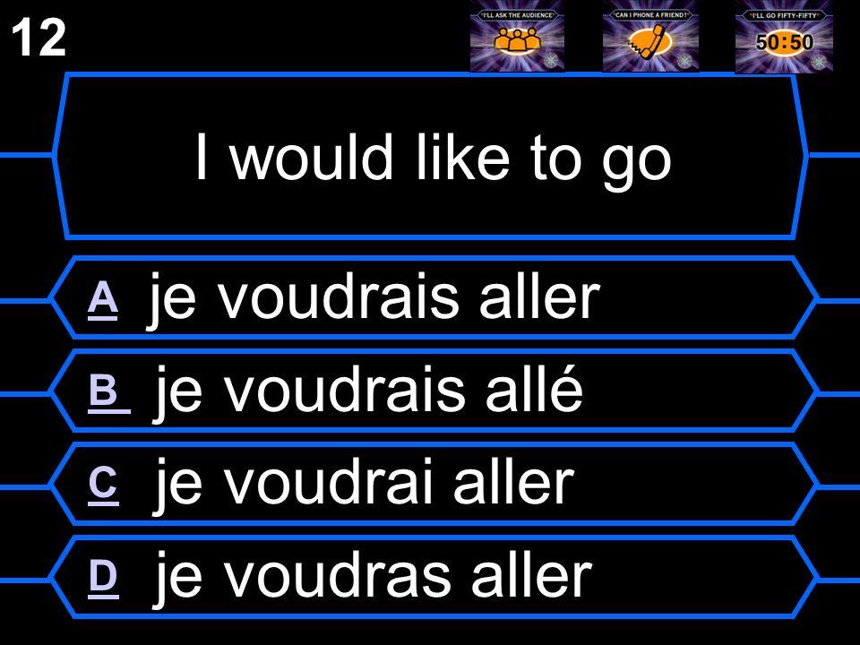 I would like to go A je voudrais aller B je voudrais allé