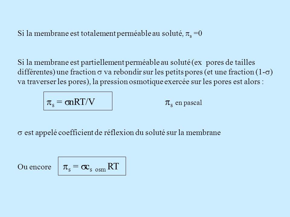 Si la membrane est totalement perméable au soluté, ps =0