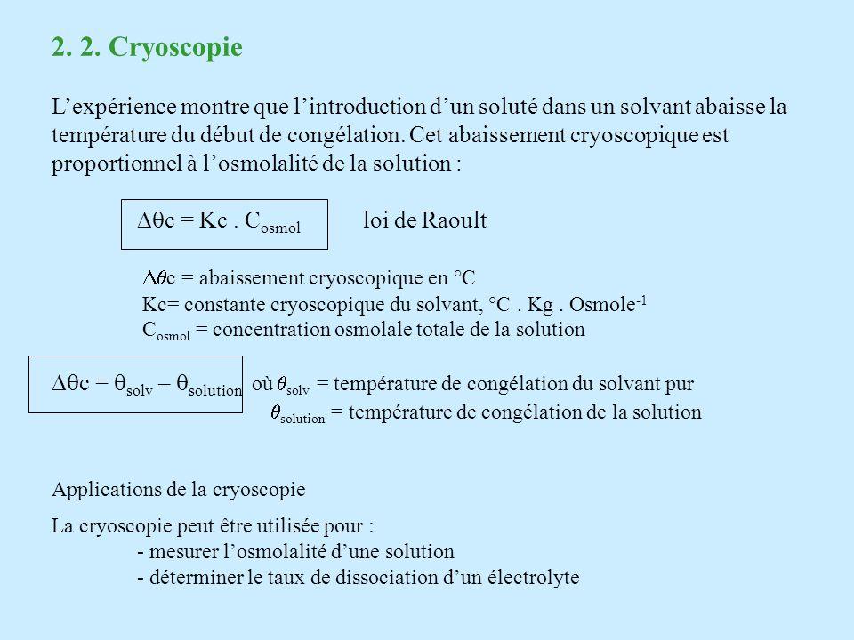 2. 2. Cryoscopie L'expérience montre que l'introduction d'un soluté dans un solvant abaisse la.