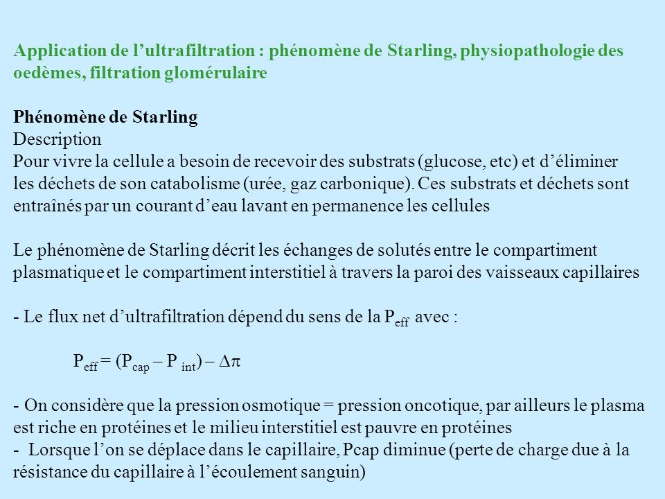 Application de l'ultrafiltration : phénomène de Starling, physiopathologie des