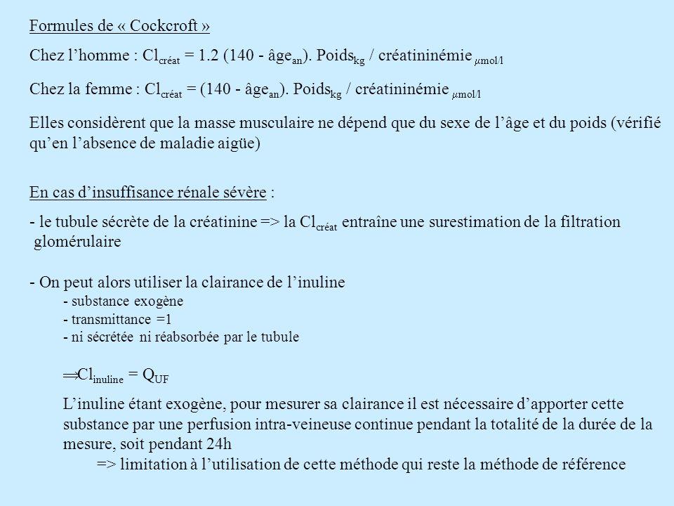 Formules de « Cockcroft »