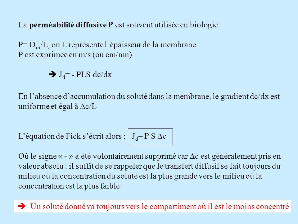 La perméabilité diffusive P est souvent utilisée en biologie