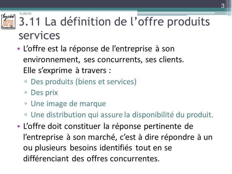 3.11 La définition de l'offre produits services