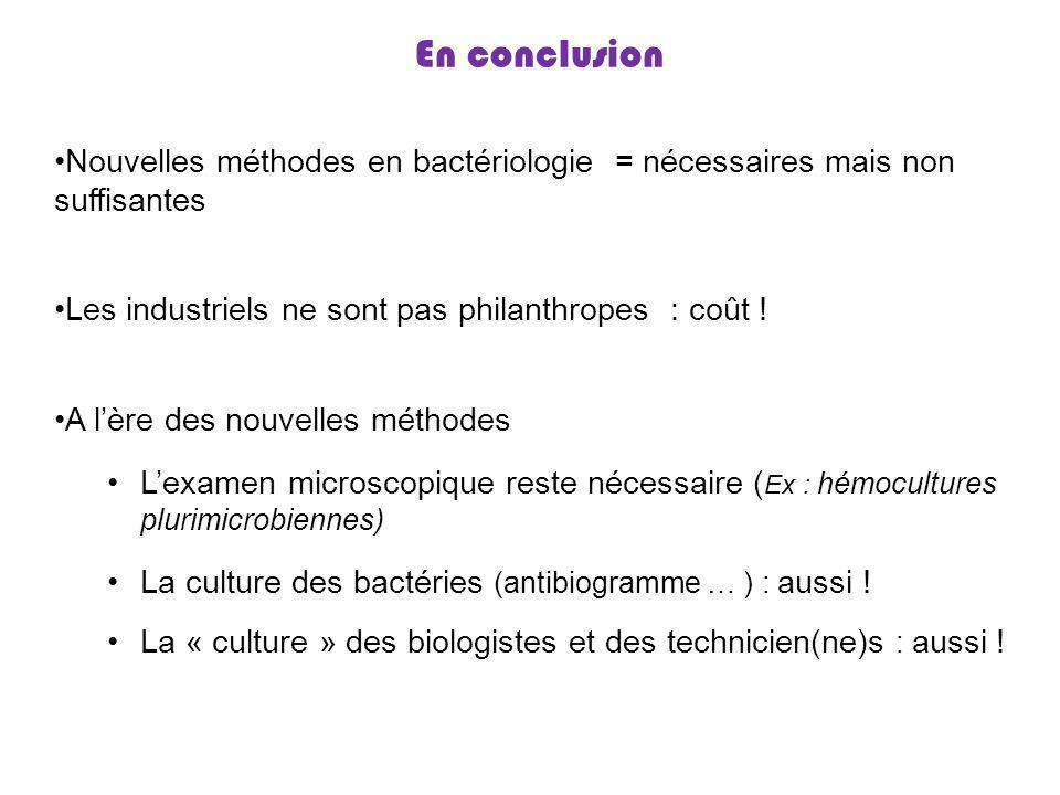 En conclusion Nouvelles méthodes en bactériologie = nécessaires mais non suffisantes. Les industriels ne sont pas philanthropes : coût !