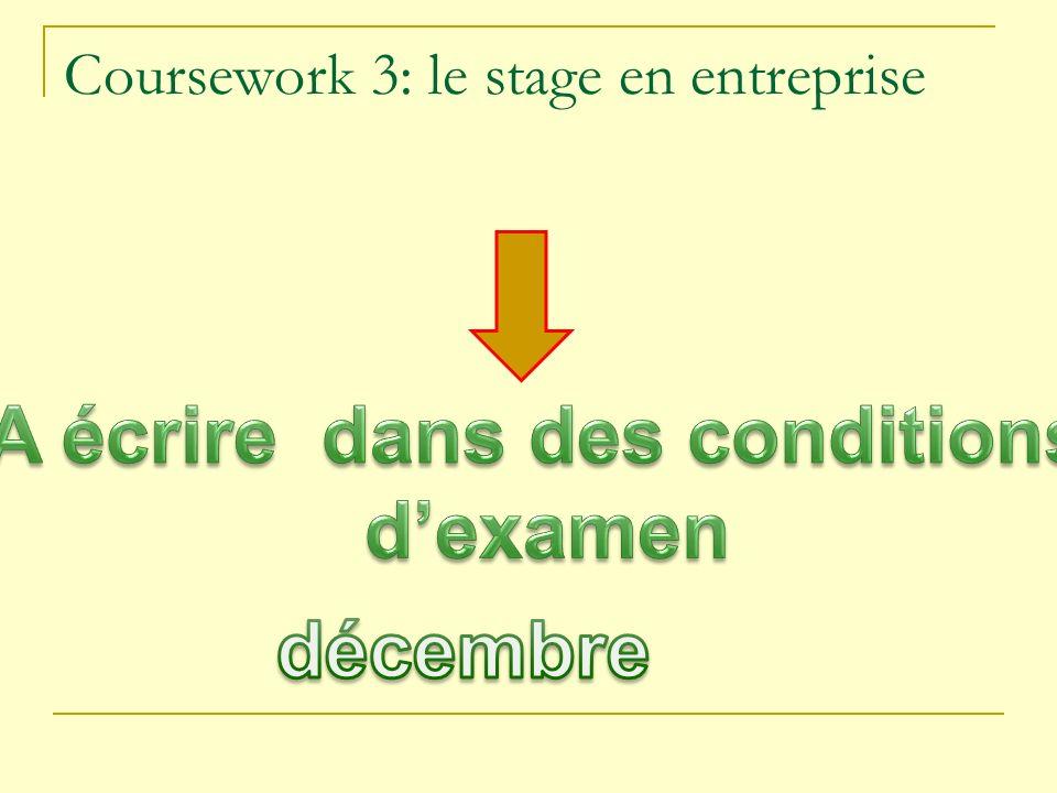 Coursework 3: le stage en entreprise