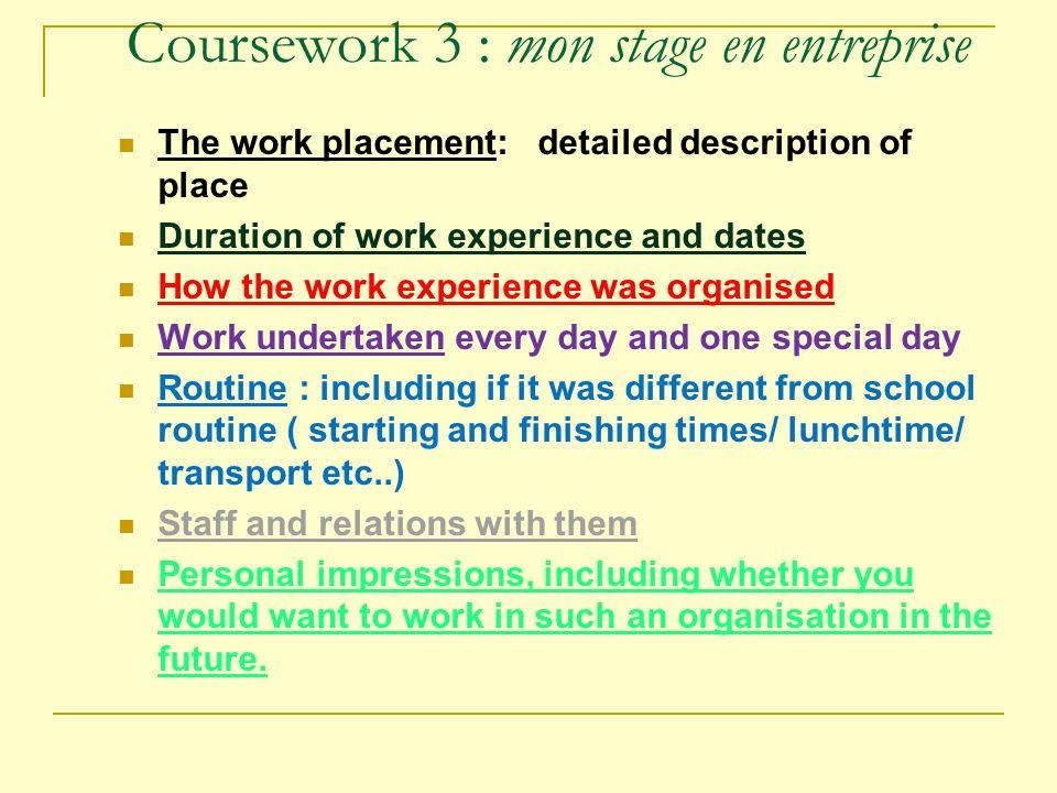 Coursework 3 : mon stage en entreprise