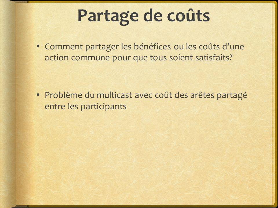 Partage de coûts Comment partager les bénéfices ou les coûts d'une action commune pour que tous soient satisfaits