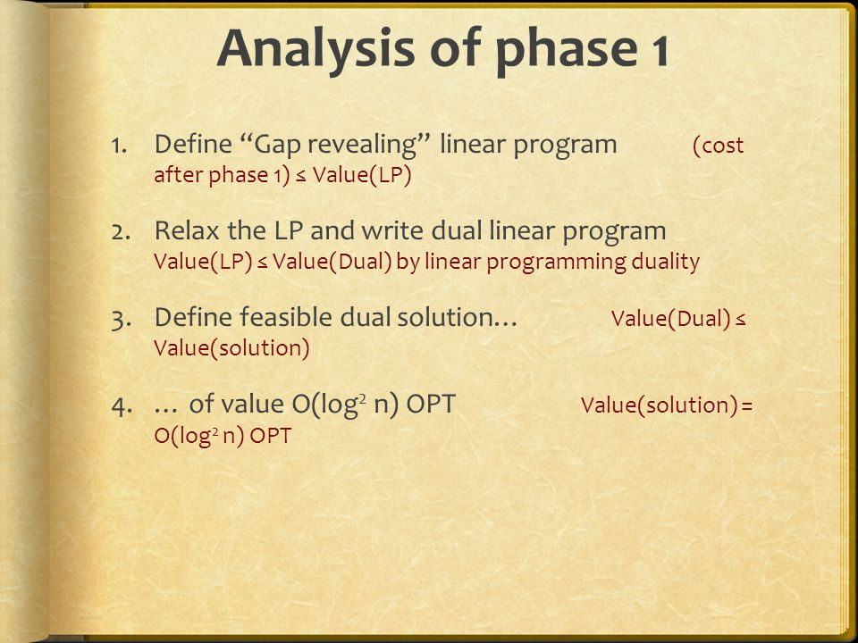 Analysis of phase 1 Define Gap revealing linear program (cost after phase 1) ≤ Value(LP)