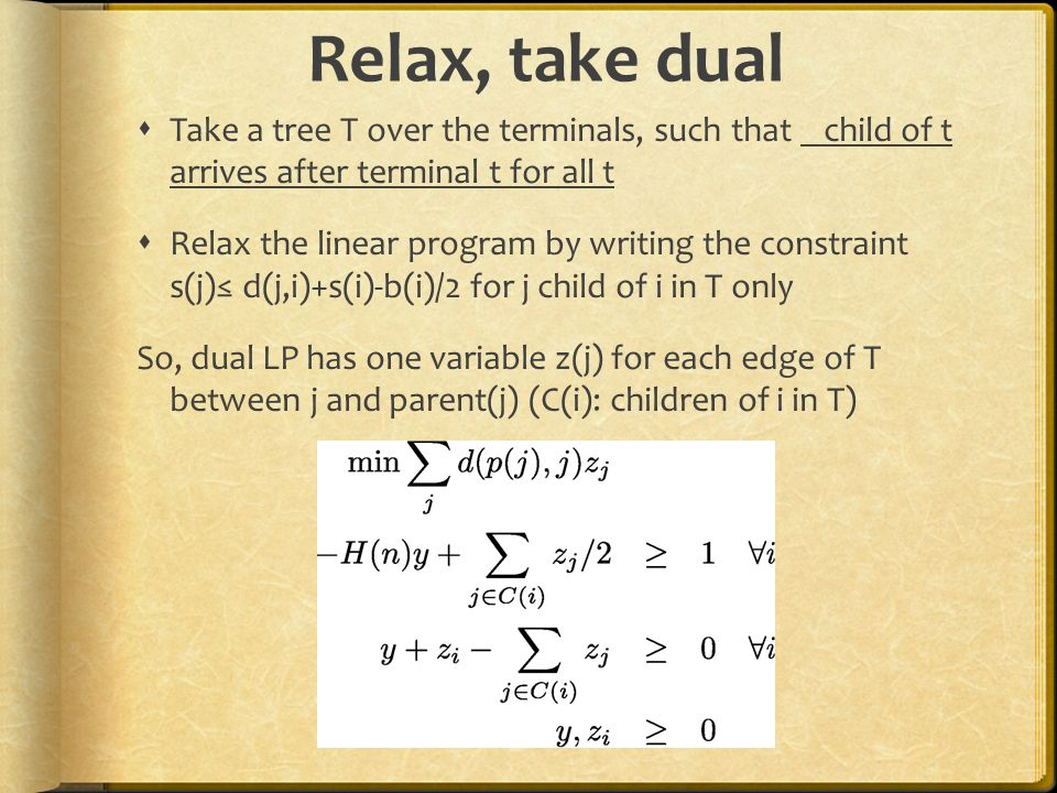 Relax, take dual Take a tree T over the terminals, such that child of t arrives after terminal t for all t.