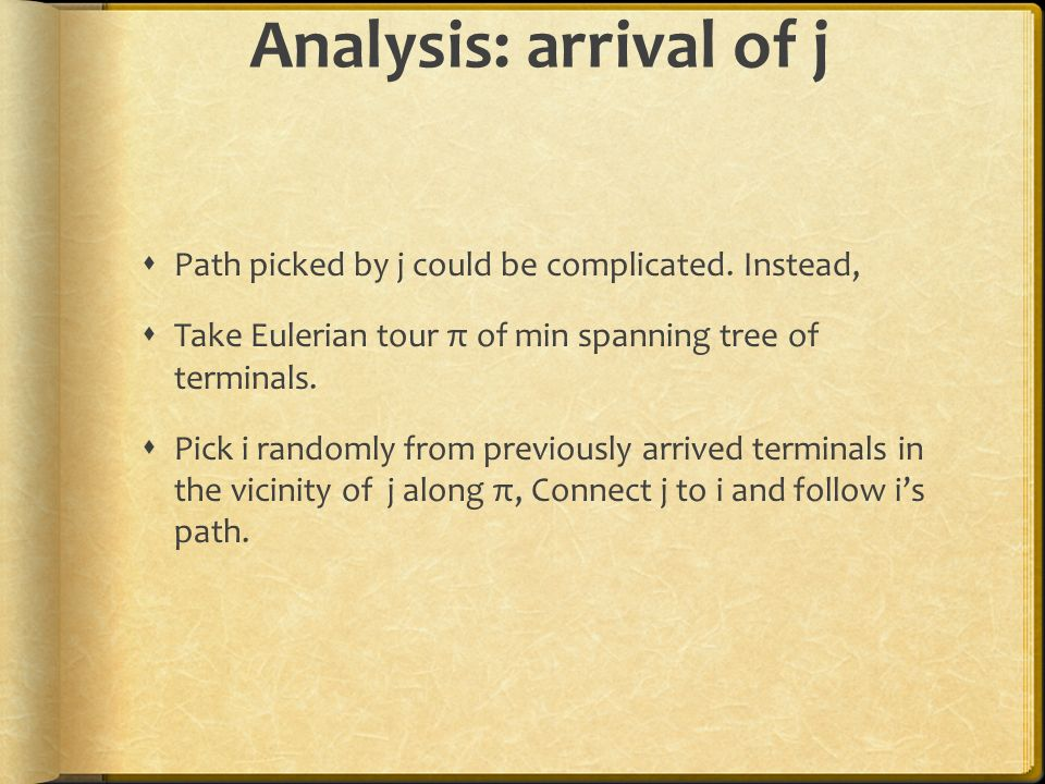 Analysis: arrival of j Path picked by j could be complicated. Instead,
