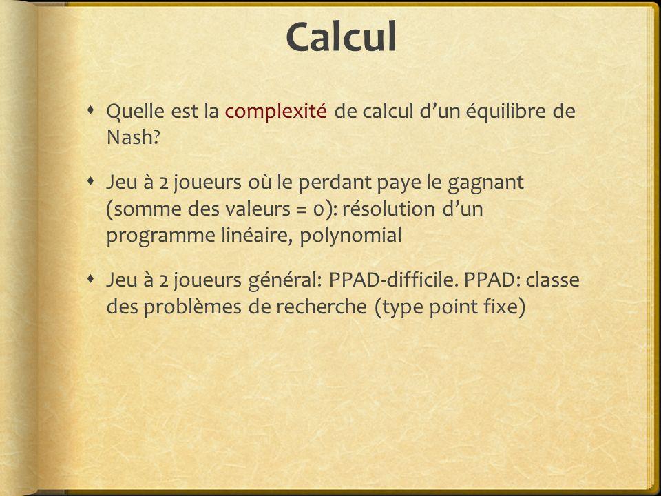 Calcul Quelle est la complexité de calcul d'un équilibre de Nash