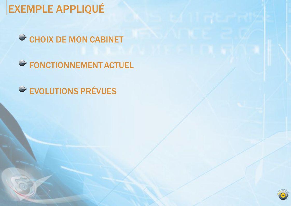 EXEMPLE APPLIQUÉ CHOIX DE MON CABINET FONCTIONNEMENT ACTUEL