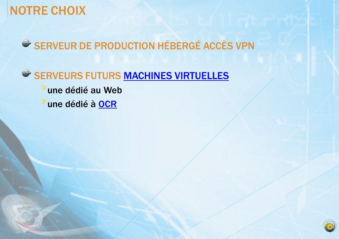 NOTRE CHOIX SERVEUR DE PRODUCTION HÉBERGÉ ACCÈS VPN