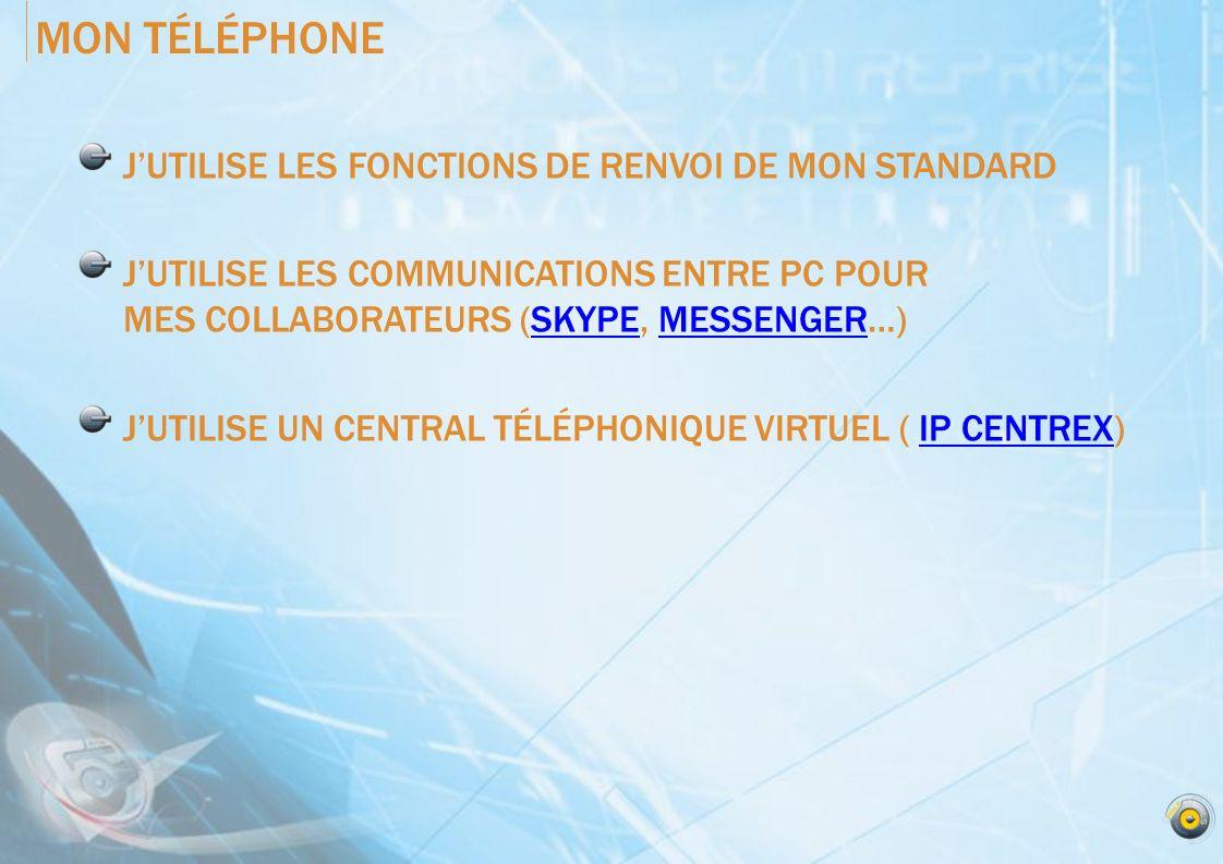 MON TÉLÉPHONE J'UTILISE LES FONCTIONS DE RENVOI DE MON STANDARD