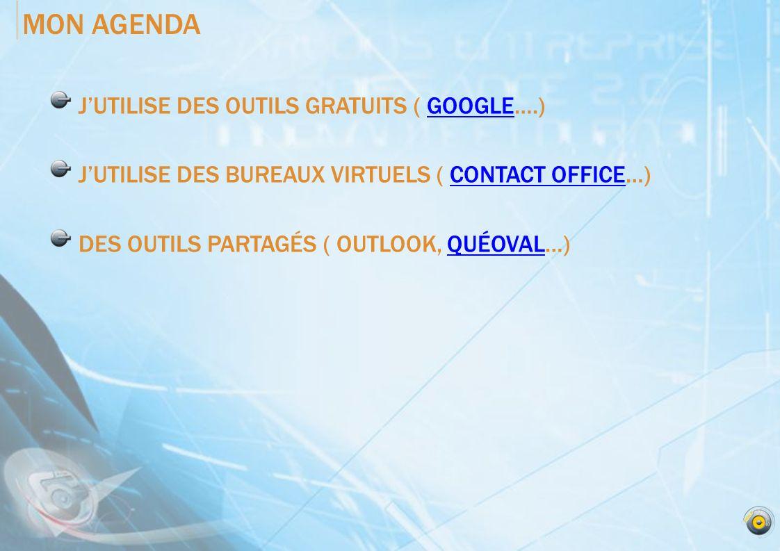MON AGENDA J'UTILISE DES OUTILS GRATUITS ( GOOGLE….)