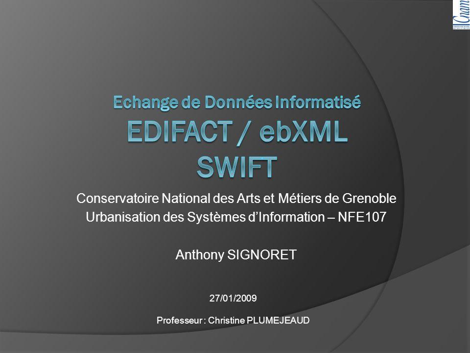 Echange de Données Informatisé EDIFACT / ebXML SWIFT