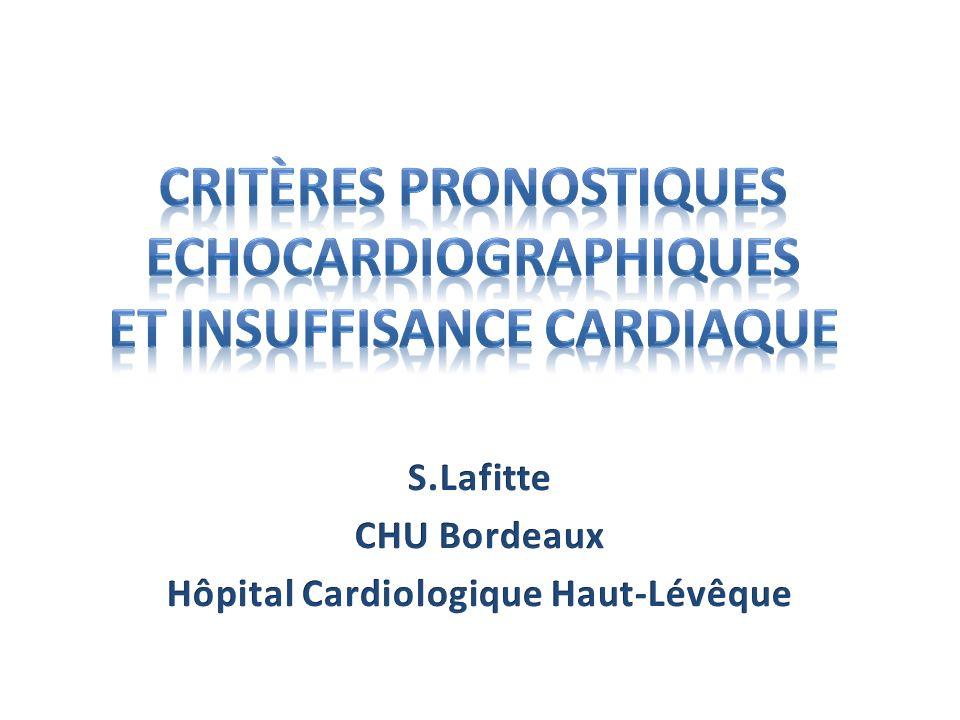 Critères Pronostiques Echocardiographiques et Insuffisance Cardiaque